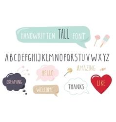 Hand drawn narrow font Tall alphabet Doodle vector image