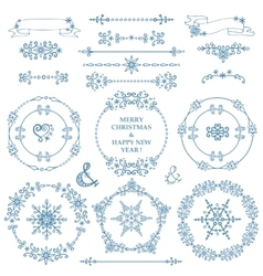 Christmasnew year decor setwinterframes wreath vector