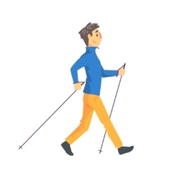 Man in blue long sleeve ad yellow pants doing vector