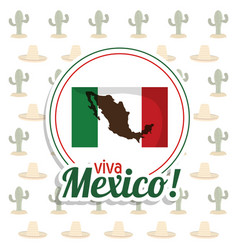 Viva mexico invitation flag map party vector