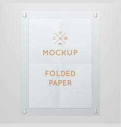 Template of folded poster in glass vector