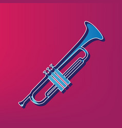 Musical instrument trumpet sign  blue 3d vector