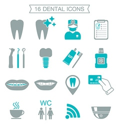 16 dental icons silhouette color block isolated vector