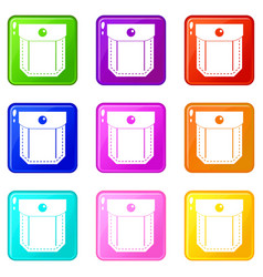 Pocket with valve and button set 9 vector