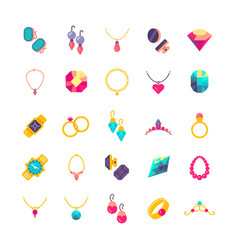 luxury jewelry flat icons vector image