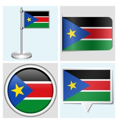 South sudan flag - sticker button label vector