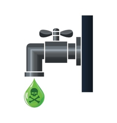 Water tap or faucet with poison drop vector