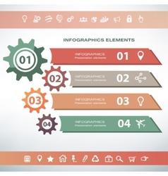 Infographics template gear and process concept vector