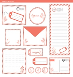 Stationery set 1 pink stripe vector