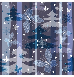 winter repeating pattern with snowflakes trees and vector image