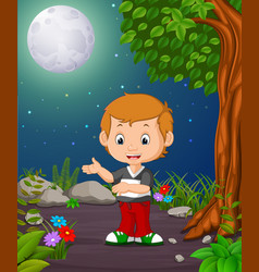 A boy under the bright fullmoon vector