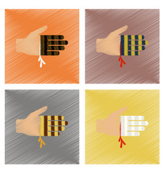 assembly flat shading style icons bloody hand vector image vector image