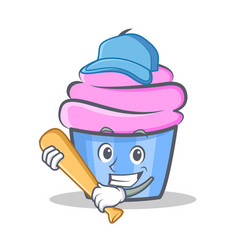 Baseball cupcake character cartoon style vector