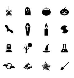 black halloween icon set vector image vector image