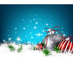 Blue winter background with christmas balls vector image vector image