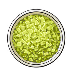 Bowl of organic green aromatic bath salt top vector