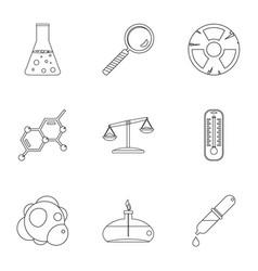 Chemistry icon set outline style vector