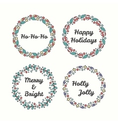 Christmas wreath set line style winter collection vector