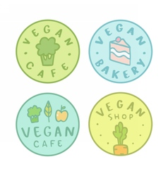Collection of vegan bakery cafe shop badges vector