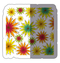 Color sticker background with several flowers vector