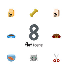 Flat icon pets set of shears cat eatin vector