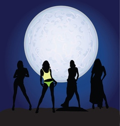 Girl silhouette on moonlight vector