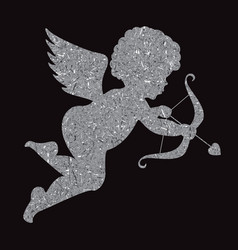 Golden angel silhouette on black background cupid vector