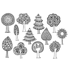 Hand drawn set of trees in doodle style vector