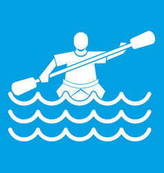 Male athlete in a canoe icon white vector