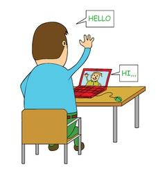 Man video chatting vector