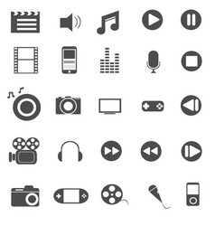 media and entertainment icons set vector image vector image