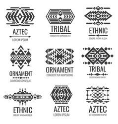 mexican aztec symbols vintage tribal vector image vector image