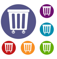 Outdoor plastic trash can icons set vector