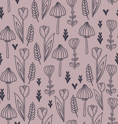 Pattern with leafs tulip flowers and mushrooms vector image vector image