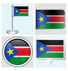 South Sudan flag - sticker button label vector image