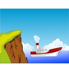 Steamship beside coast vector