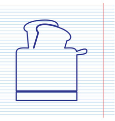 Toaster simple sign navy line icon on vector