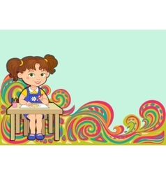 Tracery pattern girl school ethnic colorful vector