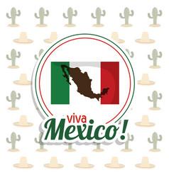Viva mexico invitation flag map party vector