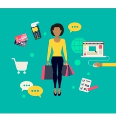 Woman doing shopping online vector