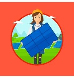 Woman holding solar panel vector