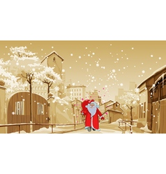 Cartoon father frost with gift bag walks vector