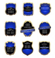 set of blue vintage labels vector image