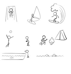 Stick people on vacation vector