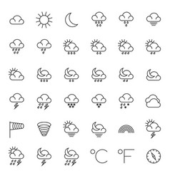 Meteorology symbols and weather thin line vector