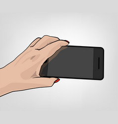 hand shooting phone vector image