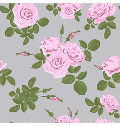 Rose seamless pattern on grey background vector