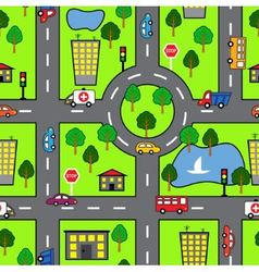 Cartoon seamless pattern with bright road the car vector