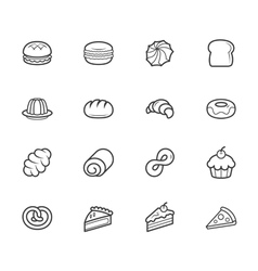 Set of bakery black icon set on white background vector