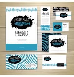 Fried fish restaurant menu concept design vector image